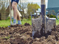 Cultivation of the garden beds Royalty Free Stock Photo