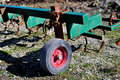 Cultivator agricultural machinery idling in winter Royalty Free Stock Photography