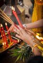Cultural prayer traditions in Thailand Royalty Free Stock Photo
