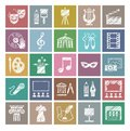 Culture and art, icons, shading pencil, white, color, vector. Royalty Free Stock Photo