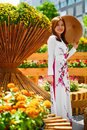 Culture Asia. Asian Woman In Traditional Dress ( Clothes ), Conical Hat
