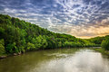 Cumberland river scenic view of with dramatic sky Royalty Free Stock Image