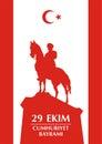 Cumhuriyet turkiye greeting ekim bayrami card republic day in turkey october with the image of the equestrian statue of mustafa Stock Image