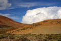 Cumulonimbus cloud blue sky with ornamental clouds over teide national park Stock Photo