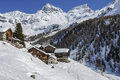 Cuneaz valle d aosta italy little mountain village in march in a sunny day Stock Photography