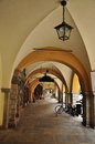 Cuneo piemonte italy old city centre arcade the porticoes in the center of traditional italian pedestrian region of Stock Photo