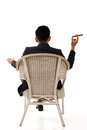 Cunning businessman of asian sit on chair Royalty Free Stock Photos