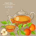 Cup of apple tea and teapot