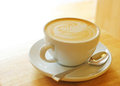 Cup of art latte or cappuccino coffee Royalty Free Stock Photo