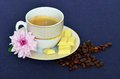 Cup of black coffee beans white chocolate on a blue tablecloth Royalty Free Stock Photography