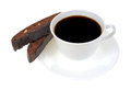 Cup of black coffee with biscotti Royalty Free Stock Photo