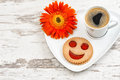 Cup black coffee smiled cookie Funny breakfast Royalty Free Stock Photo