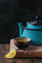 Cup of black tea with lemon Royalty Free Stock Photo