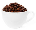 Cup with brown coffee bean on white background Stock Photo