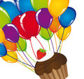 Cup cake with balloons Royalty Free Stock Photos