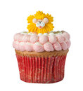 Cup Cake with Lion isolated on white Royalty Free Stock Photo
