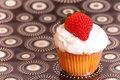 Cup cake with strawberry Stock Image