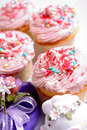 Cup cake sweet with butter cream and confetti Stock Images