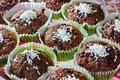 Cup cakes closeup of homemade chocolate Royalty Free Stock Photo