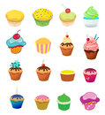 Cup cakes set of different colorful cake illustrations Royalty Free Stock Images