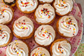 Cup cakes set food desert Stock Photos