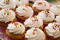 Cup cakes set food desert Royalty Free Stock Image