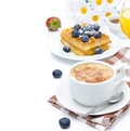 Cup of cappuccino belgian waffles blueberries orange juice with for breakfast isolated on a white background Stock Photo