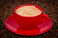 Cup of cappuccino with coffee beans close up Royalty Free Stock Images