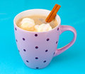 Cup of cappucino with marshmallows Stock Images