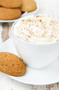 Cup of cocoa with cinnamon and whipped cream oatmeal cookies close up Stock Images