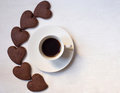 Cup of cofee with chocolate cookies some Stock Photography
