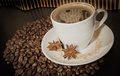 Cup and coffe grains a on background Stock Images