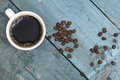 Cup of coffee with bean top view Royalty Free Stock Photo