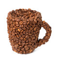 Cup of coffee beans Royalty Free Stock Photography