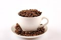 Cup of coffee beans close up white Stock Photography