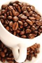Cup of coffee beans close up white Royalty Free Stock Photography