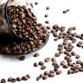 Cup of coffee beans stock photo isolated on white background Royalty Free Stock Photography
