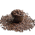 Cup of coffee beans stock photo isolated on white background Stock Photos