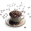 Cup of coffee beans stock photo isolated on white background Royalty Free Stock Photo