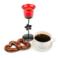 Cup with coffee, biscuits and a candlestick Royalty Free Stock Photo
