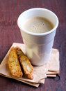 Cup of coffee and biscuits selective focus Stock Photo