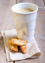 Cup of coffee and biscuits selective focus Stock Image