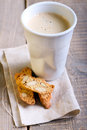 Cup of coffee and biscuits selective focus Royalty Free Stock Photography
