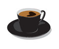 Cup of coffee black color with drawing on a white background Royalty Free Stock Photography