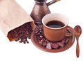 Cup of coffee breakfast background beans and chocolate with cedar Royalty Free Stock Images