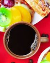 Cup of coffee and cakes Royalty Free Stock Photography