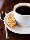 Cup of coffee and cantuccini Royalty Free Stock Photos