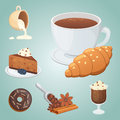 Cup of coffee, cappuccino, latte and chocolate food. Sweet deserts time.