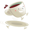 Cup of coffee cartoon character sitting on its running saucer Stock Image