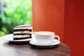 Cup of coffee and chocolate cake banana Royalty Free Stock Image